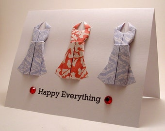 Origami Dress Happy Everything card (blue red)
