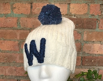 """Hand Knit Chicago Cubs """"W"""" Hat"""