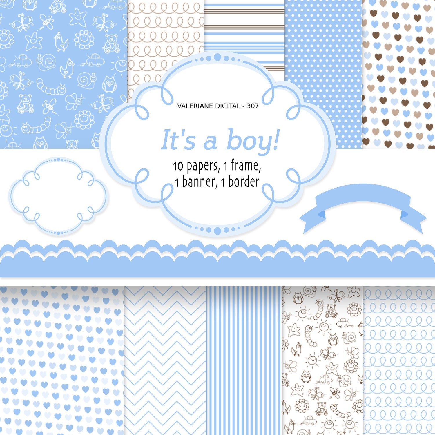 Baby boy digital paper backgrounds instant download baby - Baby background ...