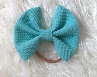 Sky blue skinny bow