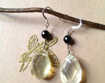 Lemon Quartz & Onyx Earring