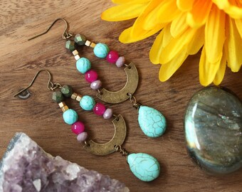 Brass Crescent dangle earrings with turquoise beads, geometric jewelry, geometric earrings, crescent earrings, boho jewelry, bohemian,trendy