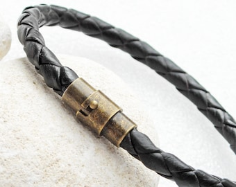 """Black leather bracelet, hand braided with brass magnetic clasp, 8mm cord.  You choose braclet size from 6 to 9 inches. Item #S-38.  7"""" 8"""" 9"""""""