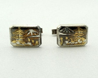 Vintage Japanese Cloisonne Sterling Silver Cufflinks. FREE SHIPPING! #JAPAN-CL1
