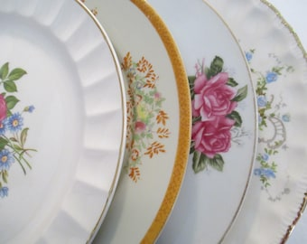 Vintage Mismatched China Luncheon Plates with Imperfections - Set of 4