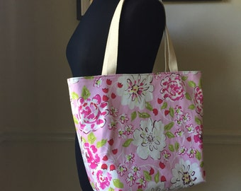 farmers market tote bag // pink tea garden floral fabric // canvas interior with zipper pocket // READY TO SHIP