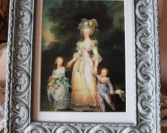 table frame portrait of Marie Antoinette and her children-distressed frame