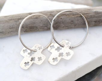 Abstract Sterling Silver Cross Charm Hoop Earrings, Sterling Silver Cross Earrings, Thin Sterling Hoops, Abstract Sterling Earrings