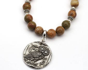 Brown owl necklace, Greek coin inspired with fossilized wood beads, 20 inches long