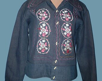 Vintage 70s Mexican Embroidered Denim Jacket S