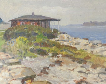 Antique Landscape Painting European Seascape House on Coast Oil Painting Russian Artist Signed Nikolai Becker