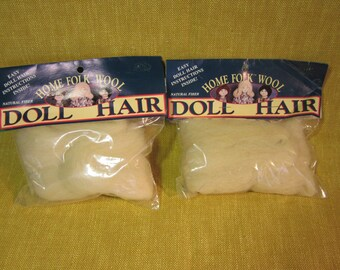 Doll Hair,2 packs, Donna Gallagher Home Folk Wool, 1 yard ea, light blonde, made in USA