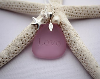 Pink Sea Glass Jewelry Sea Glass Necklace Seaglass Necklace Seaglass Jewelry Wedding Jewelry Bridal Jewelry Bridesmaid Jewelry Engraved 012