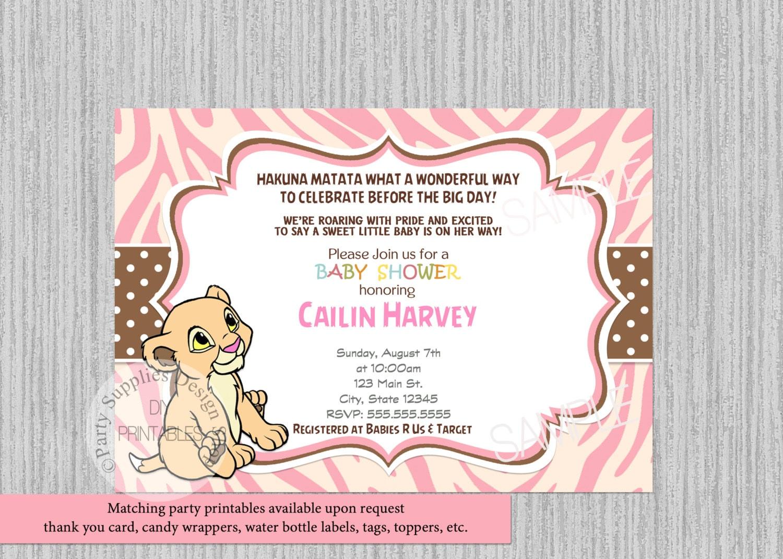 Pink Baby Nala Baby Shower Invitations Simba Lion King Baby