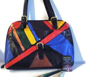 Black Leather Briefcase, Attache, LapTop Case, Tote, Black Pebbled Leather, Latico, Painted Geometric Pattern Wearable Art Free Shipping
