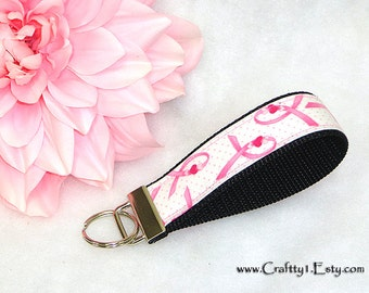 Ribbons and Hearts - Breast Cancer Awareness Key Fob (Chain) - Black