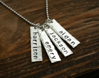 Four Sterling Silver Hand Stamped Name Necklace Bar Charms