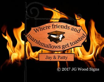 Smores Family Name Etsy  Camping Sign w/ one add on sign Name Sign - Wood Camping Sign - JGWoodSigns - JayPatty