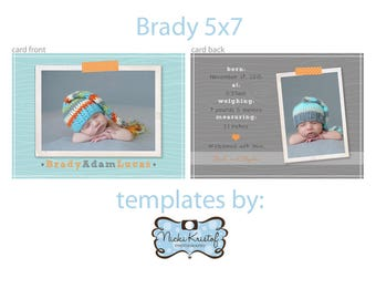 5x7 custom PS Birth Announcement Template- boy PHOTOSHOP TEMPLATE instant download