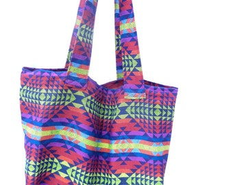 Fabric Grocery Bag Carry All Tote Bag Bright Geometric