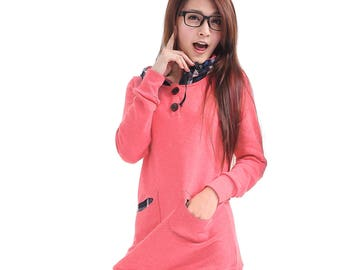 Women's  Long Hooded Dress With Check Hood and Pockets-Pink