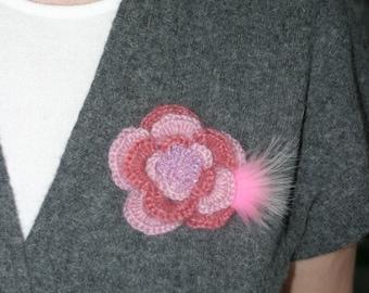 Handmade Crochet Flower Brooch in Pink, Crochet Flower, Crochet Jewelry, Accessory