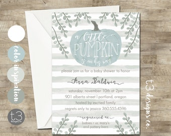 BOY Little Pumpkin Baby Shower Invitation, boy baby shower invite, baby shower, fall baby shower, watercolor, little pumpkin is on his way