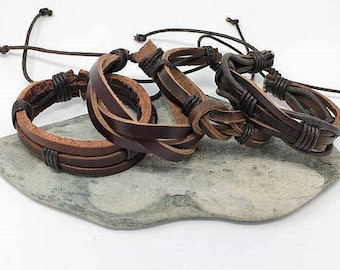 Men's Leather bracelet Mens Gifts Under 20 Boyfriend Gift For Dad Husband Gift Mens Bracelet Mens gift Anniversary Gift for Him 4PC8