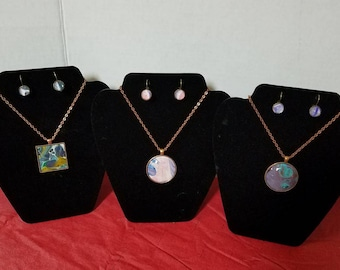 Handpainted Abstract Necklace and Earrings Set - FREE SHIPPING