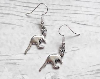 Kangaroo earrings, Australian jewellery, animal jewelry, summer accessory, gifts for her, christmas stocking filler, australia present