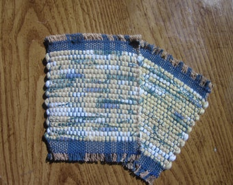 mug rug set, yellow and green print handwoven rag rug coaster set
