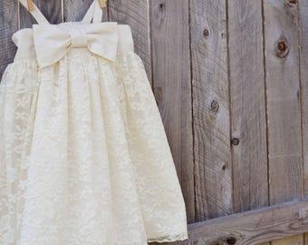 Baby Dress - Lace Dress - Flower Girl Dress - Bow Dress- Sun Dress - Special Occasion - Baby Fancy Dress - Party Dress - Simple Lace Dress