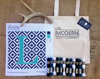 "Needlepoint Kit - Square Pillow Design 14pt Canvas- 12"" or 16"" - Canvas Only or Full Kit w/ DMC Wool - Monogram Diamond Jade"