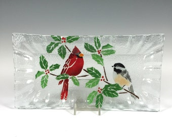 Cardinal and Chickadee Fused Glass Tray, Cardinals, Chickadees, Holly, Glass Plate, Cheese Plate, Tea Loaf Dish