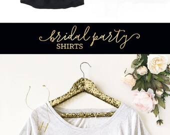Bridal Party Shirts - Bridesmaid Shirts - Gold Wreath Wedding Shirts - Bridesmaid TShirts - Bachelorette Party Shirts (EB3202WRBP) Loose Fit