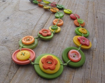 Button Necklace in Orange, Green and Yellow Bright Citrus Colours - one of a kind