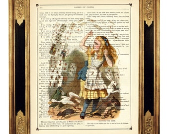 Alice in Wonderland Dictionary Art Print Revenge of the Game of Cards color - Vintage Victorian Book Page Art Print Steampunk