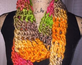 Handmade Crochet Rainbow Infinity Scarf