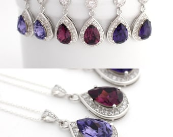 Purple Bridesmaid Jewelry Gifts, Amethyst Wedding Bridal Earrings and Necklace Set, Swarovski Pear Jewelry, Plum Crystal Proposal Jewelry