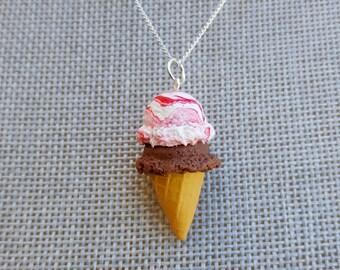 Ice Cream Necklace - Food Jewelry - Birthday Necklace - Food Necklace - Summer Necklace - Mini Food