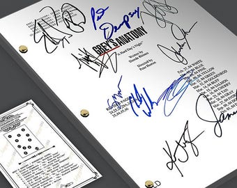 Grey's Anatomy TV Show Pilot Script Card Gift Screenplay - Signed Autograph Reprint - Ellen Pompeo, Patrick Dempsey, Katherine Heigl