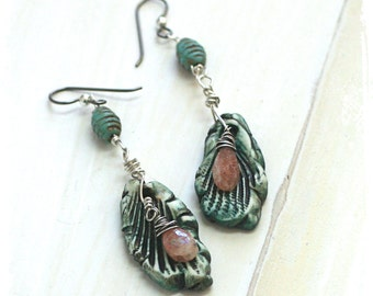 Rustic bohemian earrings - Leaf earrings - Sunstone earrings - Gypsy earrings - Boho ceramic earrings - Dangle earrings Gift for her