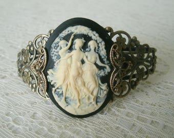 Three Muses Cuff Bracelet, victorian jewelry art nouveau jewelry art deco jewelry edwardian medieval renaissance neo victorian bracelet