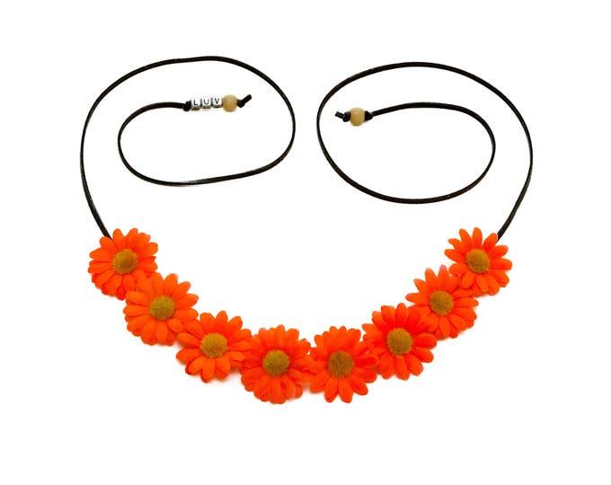 Neon Orange Daisy Flower Crown