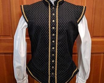 Large Black Sussex Fencing Doublet - Gipsy Peddler SCA Rapier Armor