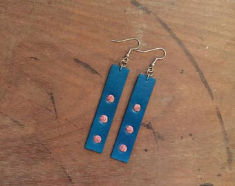 Blue Leather Drop Earrings with Pink Glitter Accents