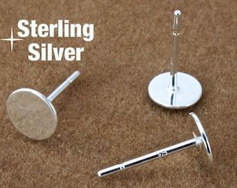 6mm Sterling Silver Ear Post #BSA018