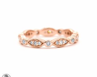 Eternity Band, Eternity Ring With Marquise Shaped Design,14 Karat Rose Gold Ring With Pave Diamonds, Full Diamond Eternity Band |LDR02358
