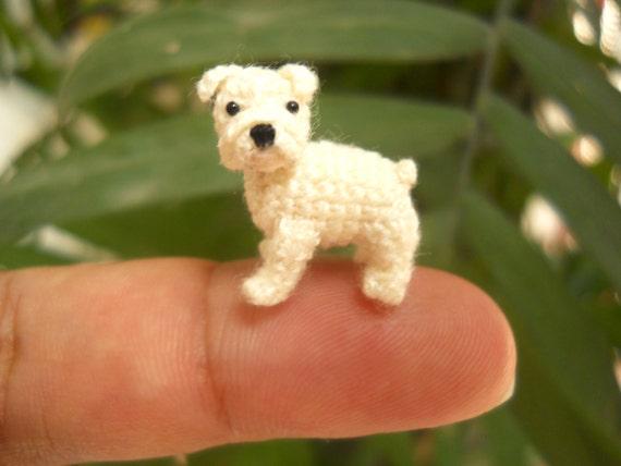 Amigurumis Perros Paso A Paso : Miniatura blanco bulldog mini amigurumi pequeño perro