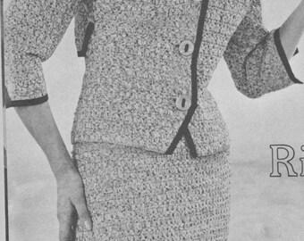 167 PDF Chanel Style Suit Crochet Pattern, Ladies Jacket and Skirt Set Pattern, Women's Suit Set, Office Wear, Vintage 1960's, PDF Download
